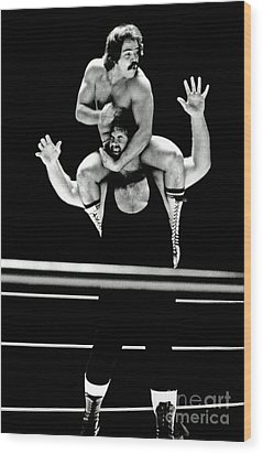 Wood Print featuring the photograph Old School Wrestling Piggyback Ride By Mando Guerrero by Jim Fitzpatrick