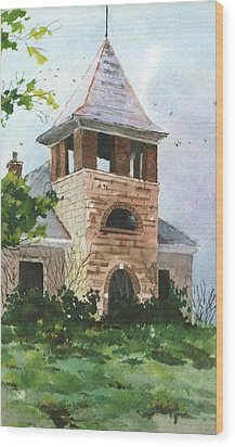 Wood Print featuring the painting Old Schoolhouse by Susan Crossman Buscho