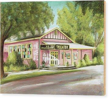 Wood Print featuring the painting Old Schoolhouse Theater On Sanibel Island by Melinda Saminski