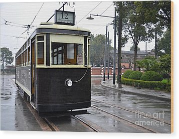 Old Shanghai Trolley Tram Car Rests In Tracks Wood Print by Imran Ahmed