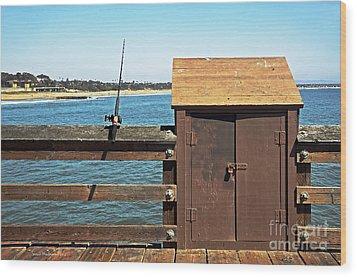 Old Shed On Ventura Pier Wood Print by Susan Wiedmann