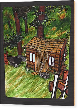 Old Shed Shed Wood Print by Ryan Lee