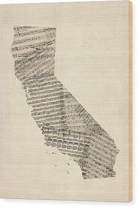 Old Sheet Music Map Of California Wood Print by Michael Tompsett