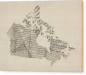 Old Sheet Music Map Of Canada Map Wood Print by Michael Tompsett