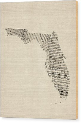 Old Sheet Music Map Of Florida Wood Print by Michael Tompsett