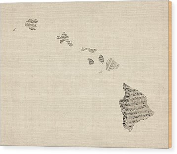 Old Sheet Music Map Of Hawaii Wood Print by Michael Tompsett