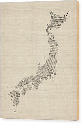 Old Sheet Music Map Of Japan Wood Print by Michael Tompsett