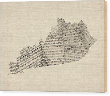 Old Sheet Music Map Of Kentucky Wood Print by Michael Tompsett