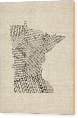 Old Sheet Music Map Of Minnesota Wood Print by Michael Tompsett