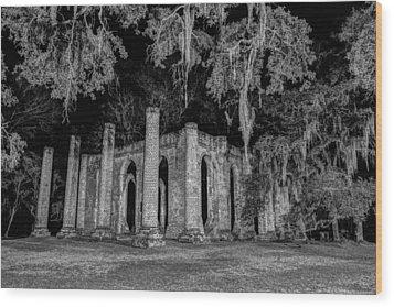 Old Sheldon Church At Night Wood Print
