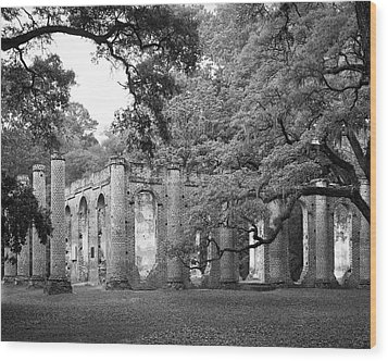 Old Sheldon Church - Black And White Wood Print