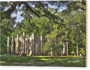 Old Sheldon Church Ruins Wood Print by Reid Callaway