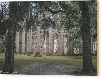 Old Sheldon Church  Wood Print by Steven  Taylor