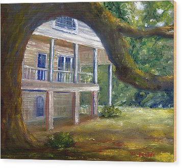 Wood Print featuring the painting Old Southern Louisiana Mansion Plantation by Lenora  De Lude