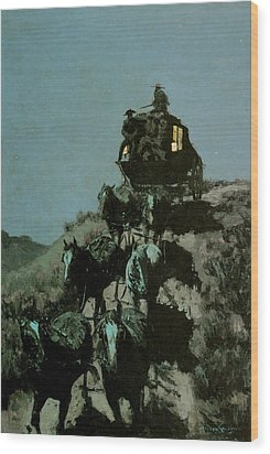 Old Stage Coach Of The Plains Wood Print by Frederick Remington