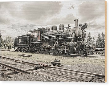 Wood Print featuring the photograph Old Steam Locomotive No. 97 - Made In America by Gary Heller