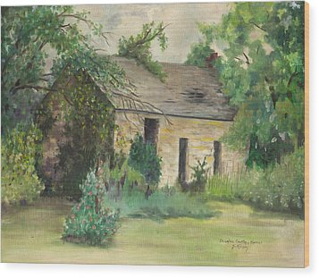 Old Stone Building In Kansas Wood Print by Sheila Kinsey