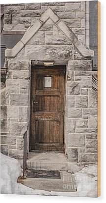 Old Stone Church Door Wood Print by Edward Fielding
