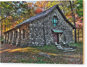 Old Stone Lodge Wood Print by Anthony Sacco