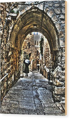 Wood Print featuring the photograph Old Street In Jerusalem by Doc Braham