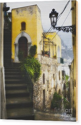 Old Street In Positano Wood Print by George Oze