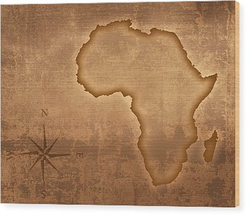 Old Style Africa Map Wood Print by Johan Swanepoel