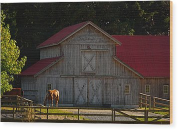 Wood Print featuring the photograph Old-style Horse Barn by Jordan Blackstone