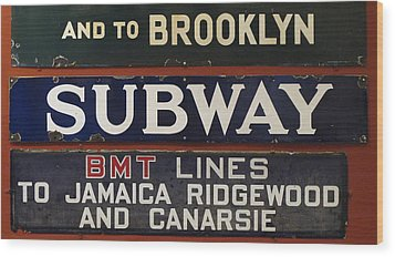 Old Subway Signs Wood Print by Dave Mills