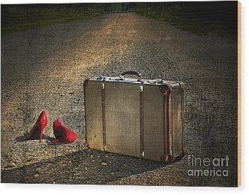 Old Suitcase With Red Shoes Left On Road Wood Print by Sandra Cunningham