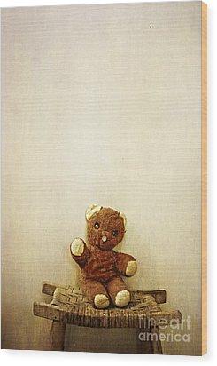 Old Teddy Bear Sitting On Stool Wood Print by Birgit Tyrrell