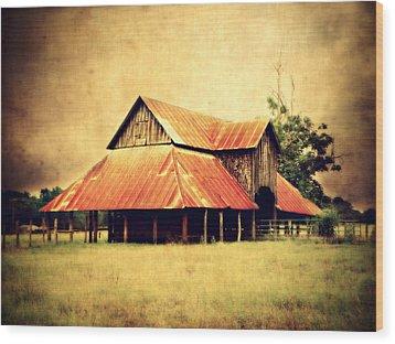 Old Texas Barn Wood Print by Julie Hamilton