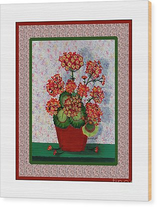 Old Time Geraniums Wood Print by Barbara Griffin