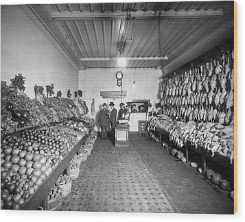 Old Time Grocery Store Wood Print by Underwood Archives