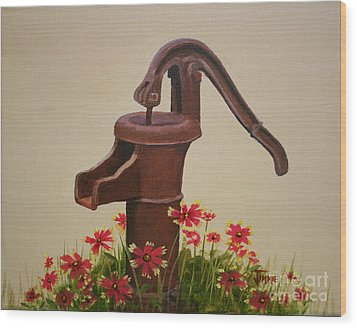 Old Time Pump Wood Print by Jimmie Bartlett