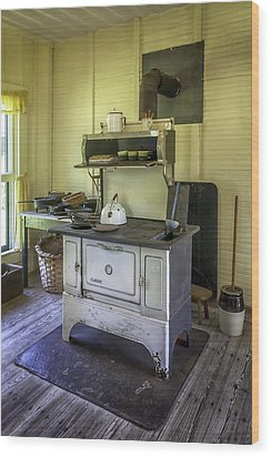 Old Timey Stove Wood Print by Lynn Palmer