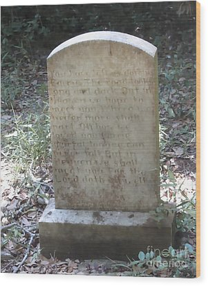 Old Tombstone  Wood Print by Cathy Lindsey