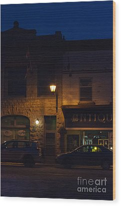 Old Town At Night Wood Print by Cheryl Baxter