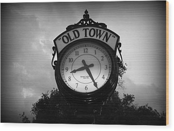 Old Town Clock Wood Print by Laurie Perry