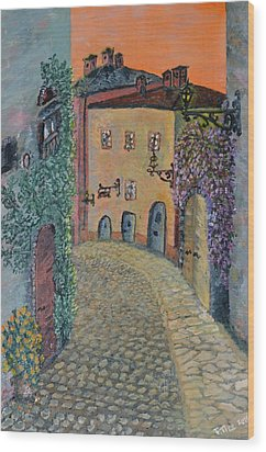 Wood Print featuring the painting Old Town In Piedmont by Felicia Tica