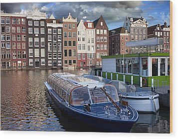 Old Town Of Amsterdam In Netherlands Wood Print by Artur Bogacki