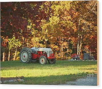 Old Tractor In A Carolina Fall Wood Print by Suzi Nelson