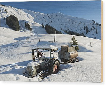 Old Tractor In Winter With Lots Of Snow Waiting For Spring Wood Print by Matthias Hauser