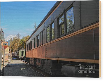 Old Train Coach Wood Print by Malu Couttolenc