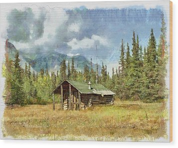 Old Trappers Cabin Wood Print