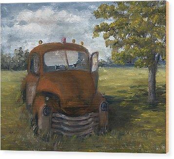Wood Print featuring the painting Old Truck Shreveport Louisiana Wrecker by Lenora  De Lude