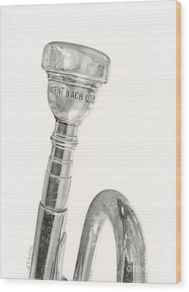 Old Trumpet Wood Print by Sarah Batalka