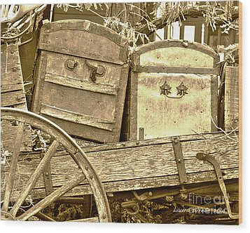 Old Trunks In Genoa Nevada Wood Print by Artist and Photographer Laura Wrede