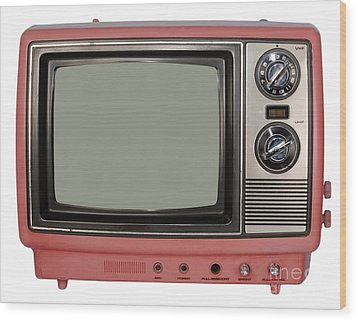 Vintage Tv Set Wood Print by Les Palenik