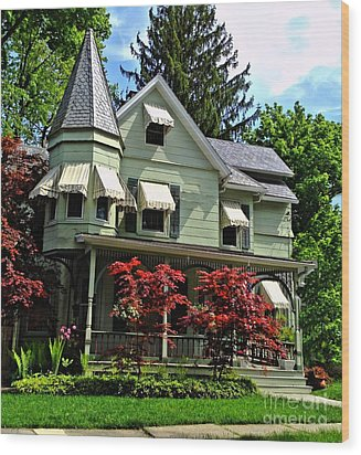 Wood Print featuring the photograph Old Victorian With Awnings by Becky Lupe