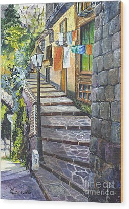 Old Village Stairs - In Tuscany Italy Wood Print